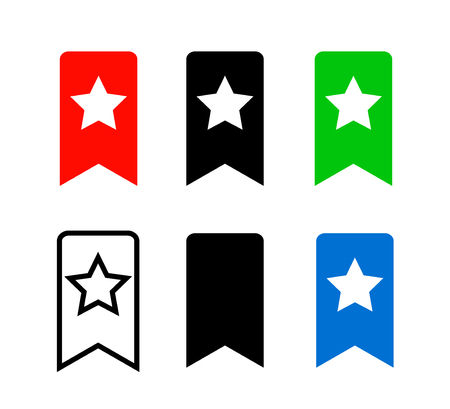 Bookmark Icon. Red, black, green and blue Bookmark Icons isolated on white background. Vector illustration.