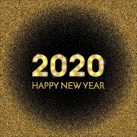 2020 Happy New Year. Golden numbers and glitter on dark background. New Year 2020 greeting card. Vector illustration.
