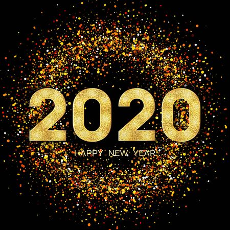 2020 Happy New Year. New Year 2020 greeting card. Background with golden numbers and glitter. Vector illustration.
