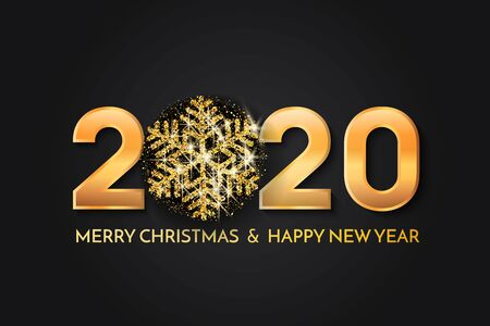Merry Christmas and New Year 2020 greeting card. 2020 golden New Year sign with golden snowflake and glitter on black background. Vector illustration of happy new year 2020.