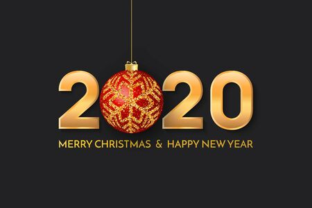 Merry Christmas and New Year 2020 greeting card. 2020 golden New Year sign with red christmas ball on black background. Vector illustration of happy new year 2020. Stock Illustratie
