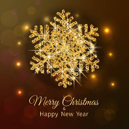 Merry Christmas greeting card. Gold snowflake of glitter on Dark background. Merry Christmas and Happy New Year text. Vector Illustration.