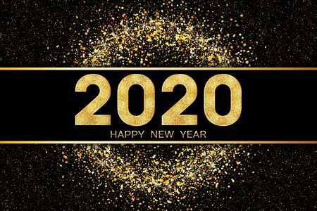 2020 Happy New Year. Greeting illustration with golden numbers and text Happy New Year. Vector illustration. Stock Illustratie