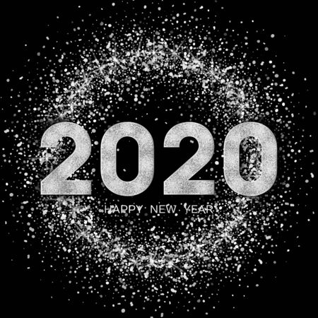 2020 Happy New Year. New Year 2020 greeting card. Background with silver numbers and glitter. Vector illustration. Stock Illustratie