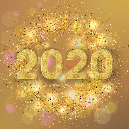2020 Happy New Year. New Year 2020 greeting card. Light Background with golden numbers and glitter. Vector illustration.