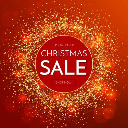 Christmas sale banner. Christmas sale phrase on red background of glitter. Vector illustration.