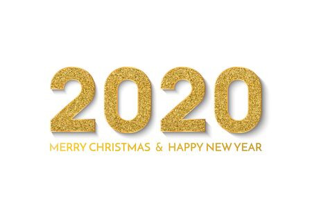 2020 Happy New Year. New Year 2020 greeting card. Light background with golden numbers and text. Vector illustration.