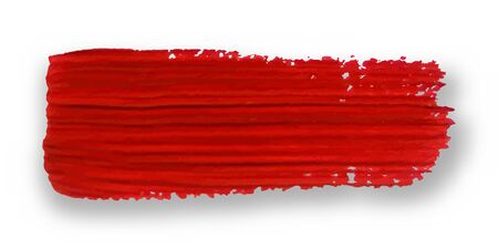 Red brush stroke isolated on white background. Grunge element for design. Brush stroke texture. Vector illustration.