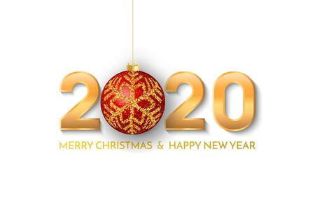 Merry Christmas and New Year 2020 greeting card. 2020 golden New Year sign with red christmas ball on white background. Vector illustration of happy new year 2020. Stock Illustratie