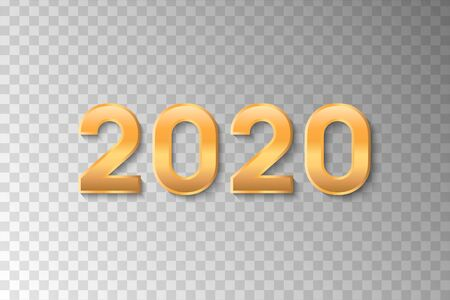 New Year 2020. Golden numbers 2020 of glitter on transparent background for design Christmas and New Year banners and cards. Vector illustration. Stock Illustratie