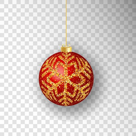 Christmas ball. Red Christmas ball isolated on transparent background. for design Christmas and New Year banners and cards. Vector illustration. Stock Illustratie