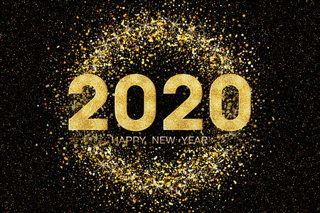 2020 Happy New Year. New Year 2020 greeting card. Dark Background with golden numbers and colorful confetti. Vector illustration. Stock Illustratie