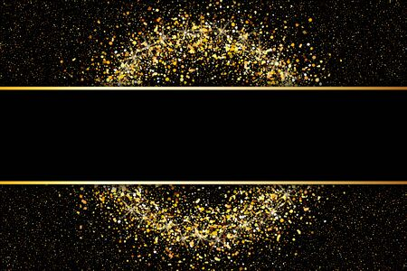 Black background with gold glitter. Illustration of falling shiny particles on dark background. Holiday Decorative element for the card, invitation. Vector illustration.