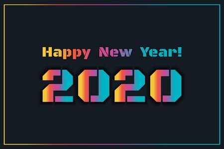 2020 Happy New Year. Illustration for the design of New Year s postcards, calendars. Colorful numbers and text isolated on dark background. New Year 2020 greeting card. Vector Illustration. Stock Illustratie
