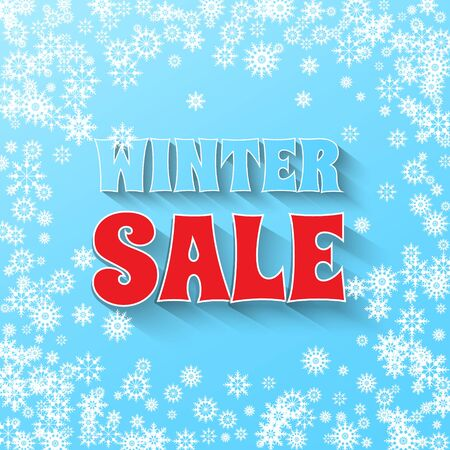 Winter Sale banner. Snowflakes and Winter Sale phrase on blue background. Vector illustration. Illustration