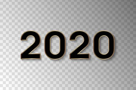 2020 Happy New Year. Black numbers isolated on transparent background. New Year 2020. Vector illustration. Stock Illustratie