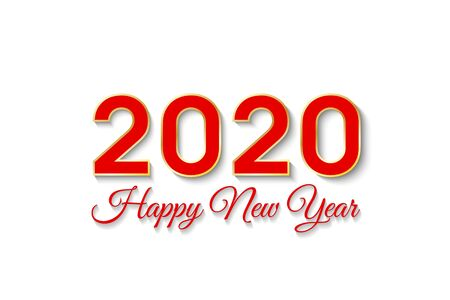 2020 Happy New Year. Illustration for the design of New Year s postcards, calendars. Red numbers and text isolated on white background. New Year 2020 greeting card. Vector Illustration.