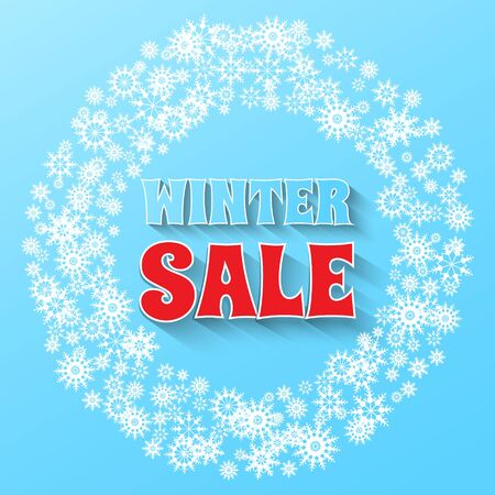 Winter Sale banner. Snowflakes and Winter Sale phrase on blue background. Vector illustration. Stock Illustratie