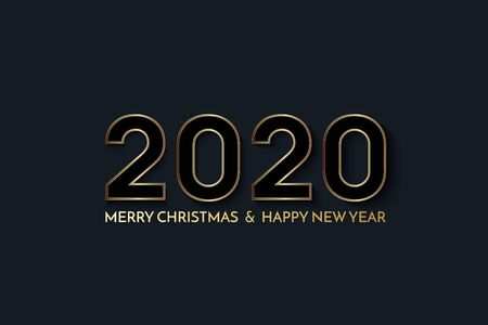 New Year 2020 greeting card. 2020 golden New Year sign on dark background. Vector illustration of happy new year 2020.