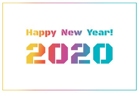 2020 Happy New Year. Illustration for the design of New Year s postcards, calendars. Colorful numbers and text isolated on white background. New Year 2020 greeting card. Vector Illustration.