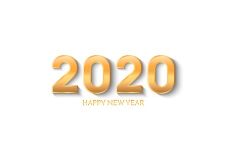 New Year 2020 greeting card. 2020 golden New Year sign on white background. Vector illustration of happy new year 2020.