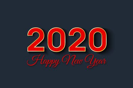 2020 Happy New Year. Red numbers isolated on black background. New Year 2020. Vector illustration. Stock Illustratie