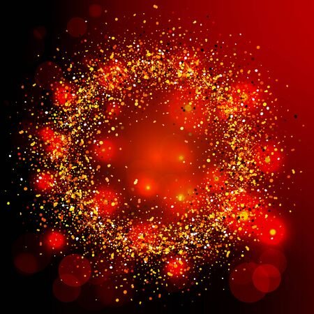 Falling gold and colorful particles in circle form on red background. Lights Shine effect for your design. Falling particles for greeting card, invitation. Vector illustration. Stock Illustratie