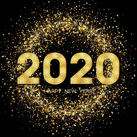 2020 Happy New Year. New Year 2020 greeting card. Dark Background with golden numbers and glitter. Vector illustration.