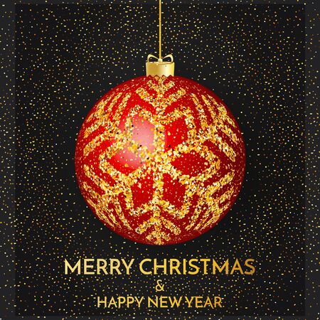 Merry Christmas greeting card. Merry Christmas and happy New Year phrase and red christmas ball whit gold snowflakes on dark background. Vector illustration. Standard-Bild - 134853953