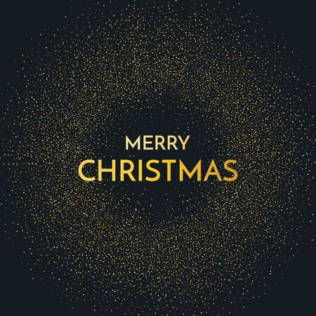 Merry Christmas greeting card. Merry Christmas phrase and glitter on dark background. Vector illustration. Standard-Bild - 134853956