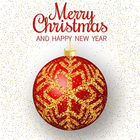 Merry Christmas greeting card. Merry Christmas and happy New Year phrase and red christmas ball with gold snowflakes on white background. Vector illustration. Standard-Bild - 134853955