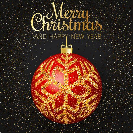 Merry Christmas greeting card. Merry Christmas and happy New Year phrase and red christmas ball with gold snowflakes on dark background. Standard-Bild - 134853952