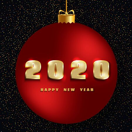 2020 Happy New Year. New Year 2020 greeting card. Dark Background with red christmas ball, golden number, text and glitter. Vector illustration.