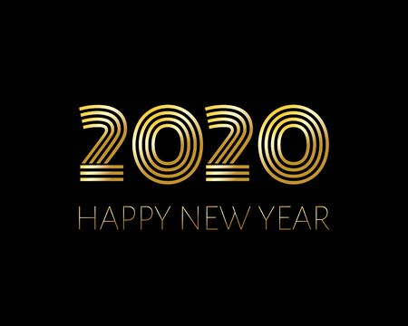 2020 Happy New Year. Illustration for design New Years postcard, calendar. Gold text and number 2020 isolated on dark background. Vector Illustration. Ilustrace