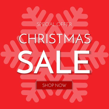 Christmas sale banner. Christmas sale phrase on red background. Vector illustration. Stock Illustratie