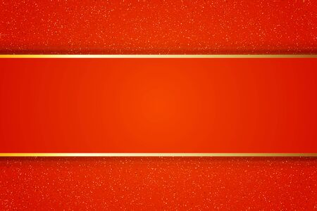Red background for your presentations. Gold Frame on red background. Vector illustration.