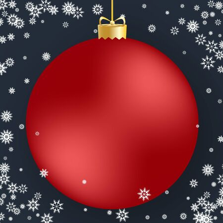 Christmas ball. Red Christmas ball and white snowflakes on dark background. For design Christmas and New Year banners and cards. Vector illustration.