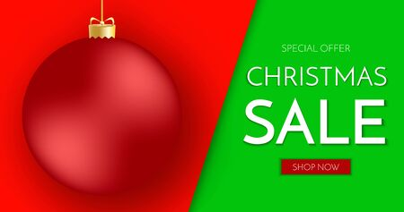 Christmas sale banner. Christmas sale phrase and red Christmas ball on green and red background. Vector illustration. Stock Illustratie