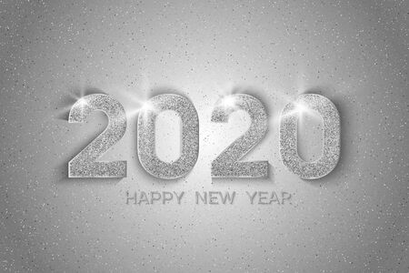 New Year 2020 greeting card. 2020 silver New Year sign on light background. Illustration of happy new year 2020.