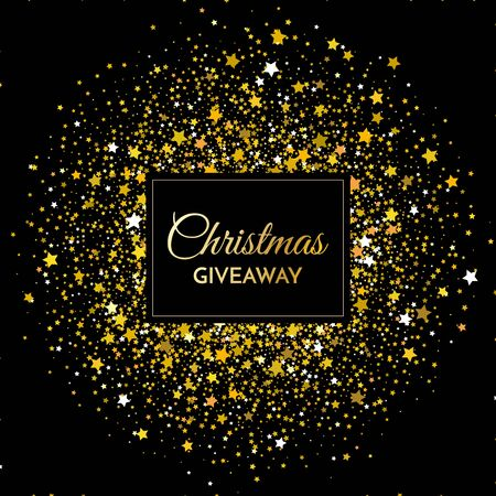 Christmas giveaway - banner template. Christmas Giveaway phrase on gold and black background. Vector illustration.