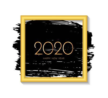 New Year 2020 greeting card. 2020 golden New Year sign, Gold frame and ink brush stroke on the white background. Vector illustration. Stock Illustratie