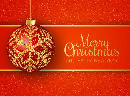 Merry Christmas greeting card. Merry Christmas and happy New Year phrase and red christmas ball with gold snowflakes on red background. Vector illustration. Standard-Bild - 134854259