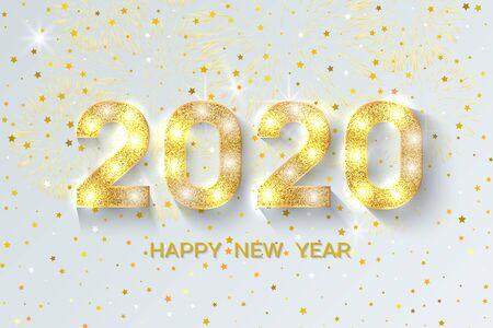 New Year 2020 greeting card. 2020 golden New Year sign on light festival background. Vector illustration of happy new year 2020.