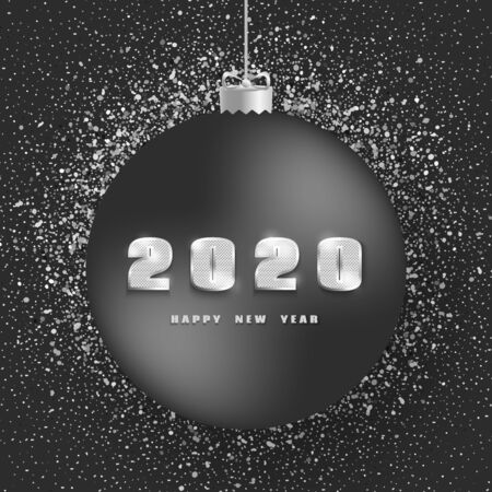 2020 Happy New Year. New Year 2020 greeting card. Dark Background with christmas ball, silver number, text and glitter.