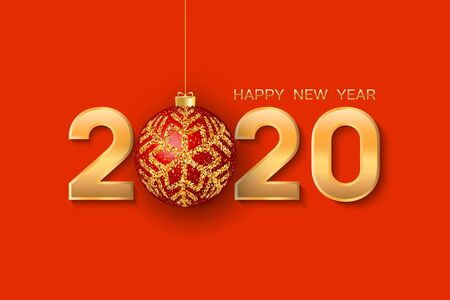 New Year 2020 greeting card. 2020 golden New Year sign with red Christmas ball on red background. Vector illustration Stock Illustratie
