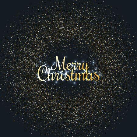 Merry Christmas greeting card. Merry Christmas phrase and glitter on dark background. Vector illustration Standard-Bild - 134854271