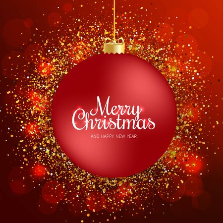 Merry Christmas greeting card. Merry Christmas and happy New Year phrase and red Christmas ball on red festive background. Vector illustration. Standard-Bild - 134854268
