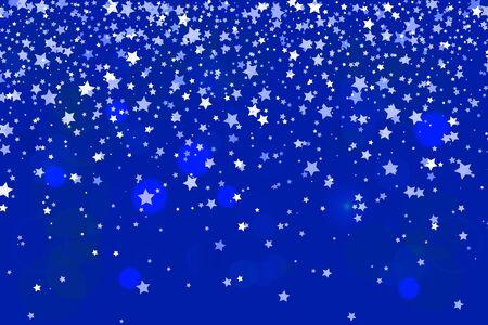 Vector Illustration of Falling stars on blue background. Stars Confetti. Christmas, New Year celebration holiday background.  イラスト・ベクター素材