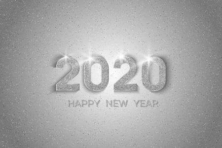 New Year 2020 greeting card. 2020 silver New Year sign on light background. Vector illustration of happy new year 2020. Ilustrace