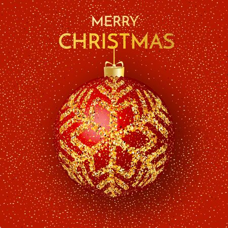 Merry Christmas greeting card. Merry Christmas phrase and red Christmas ball on red background. Vector illustration.
